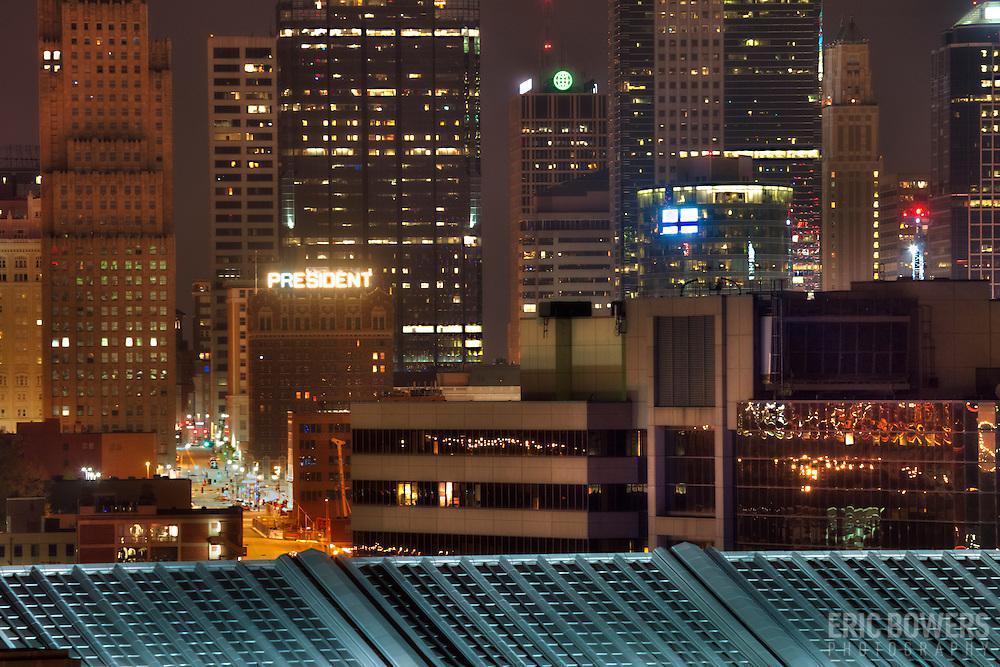 Downtown Kansas City, MO at night.
