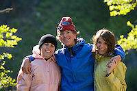 Portrait of teenagers in camp while rafting the Middle Fork of the Salmon River, ID.