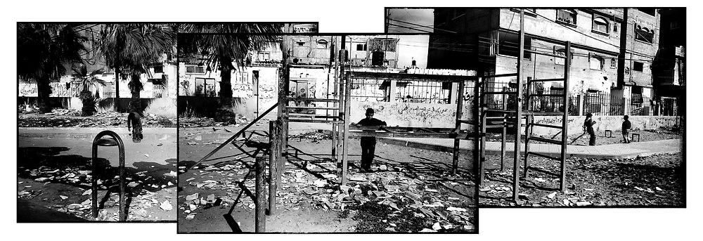 Location: Rafah, Gaza..Children return to a playground that was the sight of recent fighting.