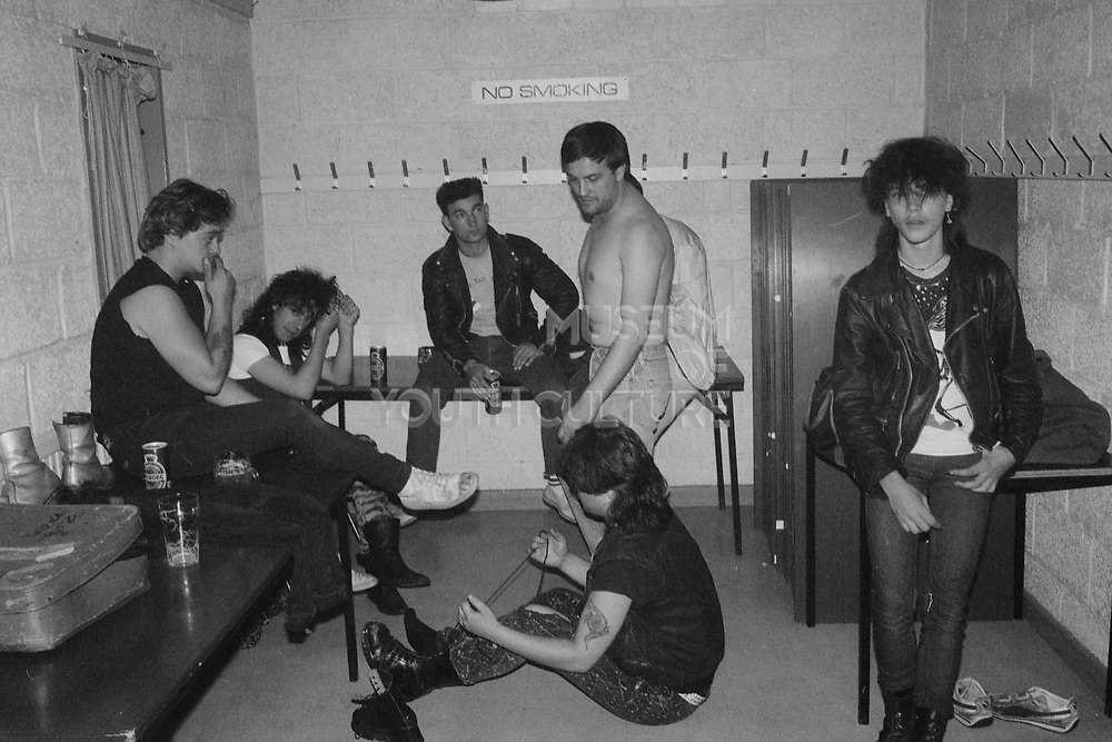 Charlie, Menzie, Lorp and others in dressing room, UK, 1980s