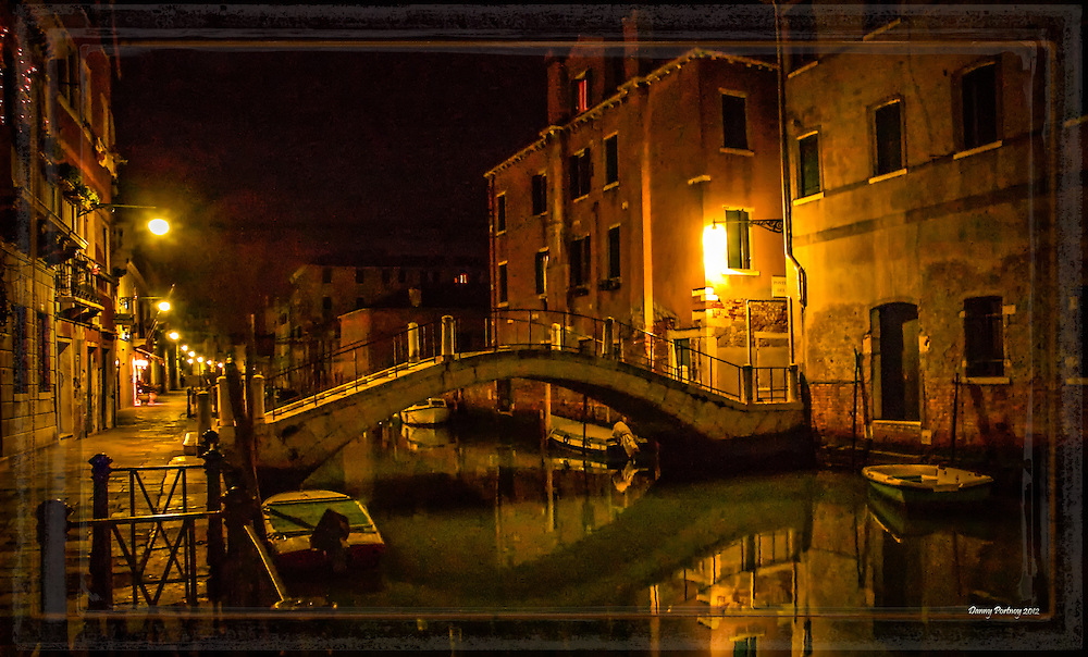 Bridge in Venice by night