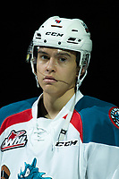 KELOWNA, CANADA - JANUARY 25: Devin Steffler #4 of the Kelowna Rockets stands on the blue line during the national anthem against the Victoria Royals  on January 25, 2019 at Prospera Place in Kelowna, British Columbia, Canada.  (Photo by Marissa Baecker/Shoot the Breeze)