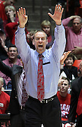 Utah head coach Larry Krystkowiak yells for a timeout during the second half of an NCAA college basketball game against Colorado, Saturday, Feb. 18, 2012, in Salt Lake City. Colorado beat Utah 55-48. (AP Photo/Colin E Braley).