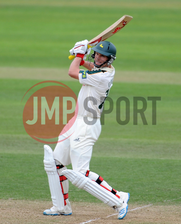 Nottinghamshire's Will Gidman cuts the ball - Photo mandatory by-line: Harry Trump/JMP - Mobile: 07966 386802 - 14/06/15 - SPORT - CRICKET - LVCC County Championship - Division One - Day One - Somerset v Nottinghamshire - The County Ground, Taunton, England.