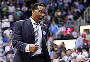Acting Denver Nuggets head coach Adrian Dantley reacts after getting a technical during Game 6 of the NBA Western Conference first-round playoff series in Salt Lake City, Friday, April 30, 2010. (AP Photo/Colin E Braley)