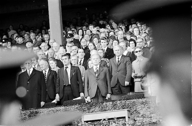 Supporters stand for the national anthem before the start of the All Ireland Senior Gaelic Football Championship Final Cork v Galway in Croke Park on the 23rd September 1973. Cork 3-17 Galway 2-13.