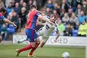 James Norwood (Tranmere Rovers) is sent tumbling in the penalty box, but the referee waves away the appeals for a penalty during the Vanarama National League second leg play off match between Tranmere Rovers and Aldershot Town at Prenton Park, Birkenhead, England on 6 May 2017. Photo by Mark P Doherty.