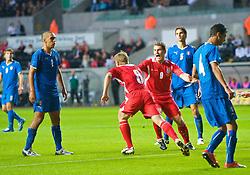 SWANSEA, ENGLAND - Friday, September 4, 2009: Wales' Christian Ribeiro celebrates scoring the opening goal against Italy during the UEFA Under 21 Championship Qualifying Group 3 match at the Liberty Stadium. (Photo by David Rawcliffe/Propaganda)