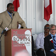 "Inductee and boxer Thomas ""Hitman"" Hearns gives his induction speech during the 23rd Annual International Boxing Hall of Fame Induction ceremony at the International Boxing Hall of Fame on Sunday, June 10, 2012 in Canastota, NY. (AP Photo/Alex Menendez)"