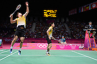 Koo KK and Tan BH, Malaysia, Loose in Mens Doubles Bronze match, Olympic Badminton London Wembley 2012