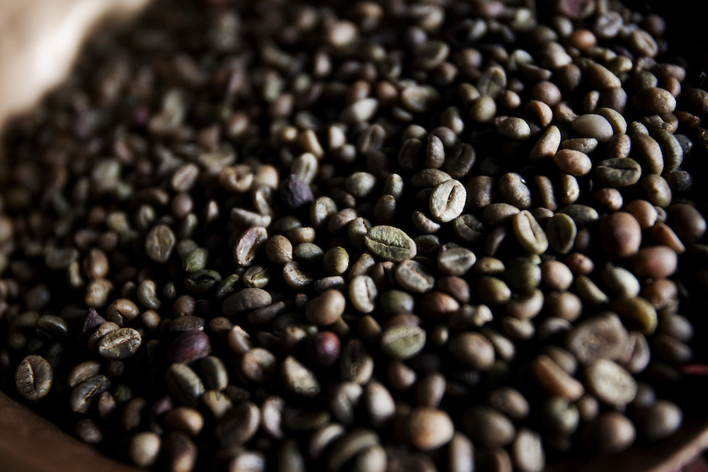 """Coffee beans  processed through """"Dry"""" process are seen at a factory in Coorg, India,  on Sunday January 31, 2010. Photographer: Prashanth Vishwanathan/Bloomberg News"""