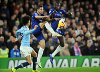 Football - 2018 / 2019 Premier League - Chelsea vs. Manchester City<br /> <br />  Antonio Rudiger and Cesar Azpilicueta of Chelsea combine to foil Leroy Sane, at Stamford Bridge.<br /> <br /> COLORSPORT/ANDREW COWIE