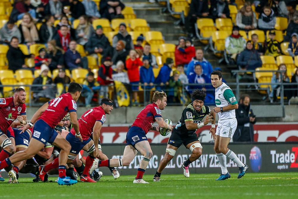 Ben Lucas runs from the scrum during the Super rugby union game (Round 14) played between Hurricanes v Reds, on 18 May 2018, at Westpac Stadium, Wellington, New  Zealand.    Hurricanes won 38-34.