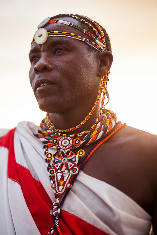 A Masai warrior in the late afternoon sun in Kenya.