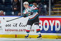 KELOWNA, CANADA - JANUARY 10: Cal Foote #25 of the Kelowna Rockets warms up with the pucks against the Spokane Chiefs on January 10, 2017 at Prospera Place in Kelowna, British Columbia, Canada.  (Photo by Marissa Baecker/Shoot the Breeze)  *** Local Caption ***