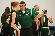 Rice head coach Tim Rice talks to Rice forward Lizzy Lyman (22) during the girls basketball game between the Rice Green knights and the Mount Mansfield Cougars at MMU High School on Friday night December 4, 2015 in Jericho. (BRIAN JENKINS/for the FREE PRESS)