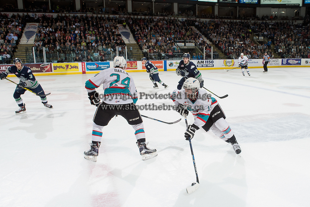 KELOWNA, CANADA - APRIL 22: Dillon Dube #19 of Kelowna Rockets skates with the puck against the Seattle Thunderbirds on April 22, 2016 at Prospera Place in Kelowna, British Columbia, Canada.  (Photo by Marissa Baecker/Shoot the Breeze)  *** Local Caption *** Dillon Dube;