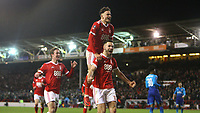 Forest celebrate going 3-1 up against Arsenal after a Ben Brereton penalty  during The Emirates FA Cup Third Round match between Nottingham Forest and Arsenal at City Ground on January 7, 2018 in Nottingham, England.