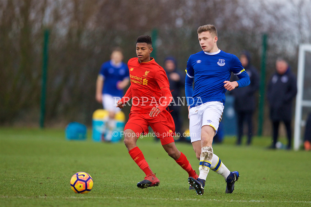 HALEWOOD, ENGLAND - Saturday, January 14, 2017: Liverpool's Rhian Brewster in action against Everton's Alex Denny during an Under-18 FA Premier League match at Finch Farm. (Pic by David Rawcliffe/Propaganda)