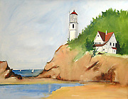 "Heceta Head Lighthouse. Oregon Coast. Acrylic. 22x28"". ©JoAnn Hawkins."