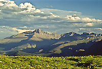 The alpine tundra and Longs Peak as viewed from Trail Ridge Road.  Rocky Mountain National Park, Colorado.