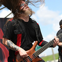 Matt Larson of the band SoulSwitch plays during their performance at the Rockstar Energy Drink Uproar festival at the 1-800-Ask-Gary amphitheater in Tampa, Florida on Thursday, September 13, 2012. (AP Photo/Alex Menendez)