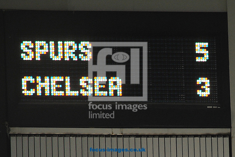 Scoreboard at the end of the game reads Spurs 5-3 Chelsea during the Barclays Premier League match between Tottenham Hotspur and Chelsea  at White Hart Lane, London<br /> Picture by Richard Blaxall/Focus Images Ltd +44 7853 364624<br /> 01/01/2015
