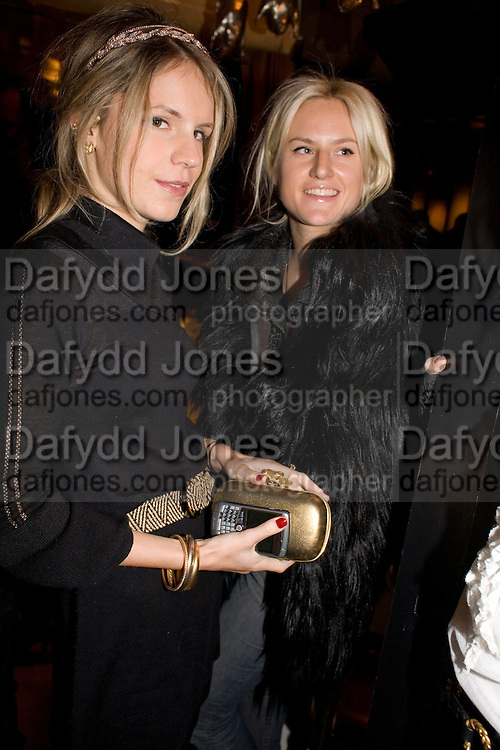 EUGENIE NIARCHOS AND FIONA SCARRY, Exhibition of work by Marc Newson at the Gagosian Gallery, Davies st. London. afterwards at Mr. Chow, Knightsbridge. 5 March 2008.  *** Local Caption *** -DO NOT ARCHIVE-© Copyright Photograph by Dafydd Jones. 248 Clapham Rd. London SW9 0PZ. Tel 0207 820 0771. www.dafjones.com.