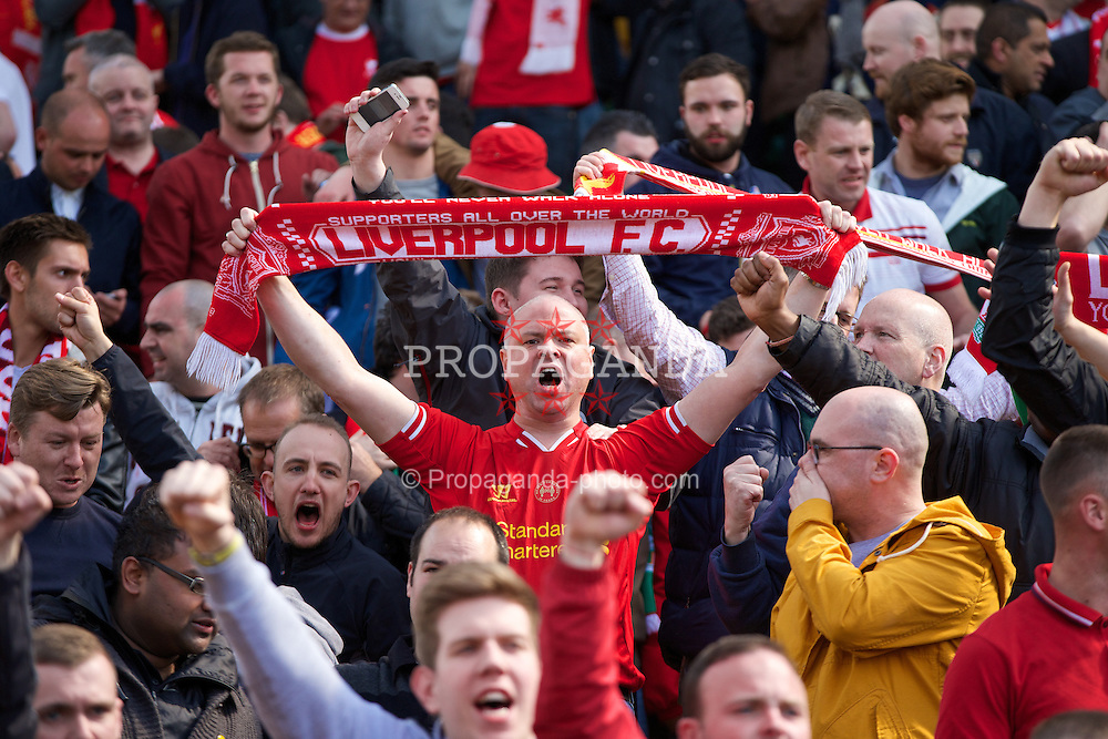 NORWICH, ENGLAND - Sunday, April 20, 2014: Liverpool's supporters celebrate their side's 3-2 victory over Norwich City during the Premiership match at Carrow Road. (Pic by David Rawcliffe/Propaganda)