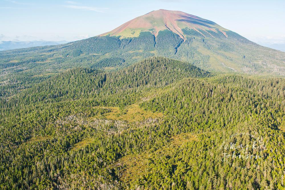 Aerial photograph of Mt. Edgecumbe, dormant volcano, Kruzof Island, Alexander Archipelago, Southeast Alaska, USA