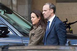 © Licensed to London News Pictures. 02/10/2019. London, UK. Foriegn Secretary Dominic Raab (r) walks in Parliament with an unidentified woman after standing in for the Prime Minister at PMQs . Photo credit: George Cracknell Wright/LNP