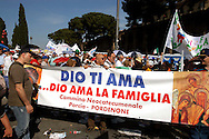 Rome 12 May 2007.People demonstraes during the 'Day of the Family' protest against a government plan to grant homosexual couples legal status, in front of the Basilica of Saint John Lateran in Rome..The banner reads: God loves you...God loves the family