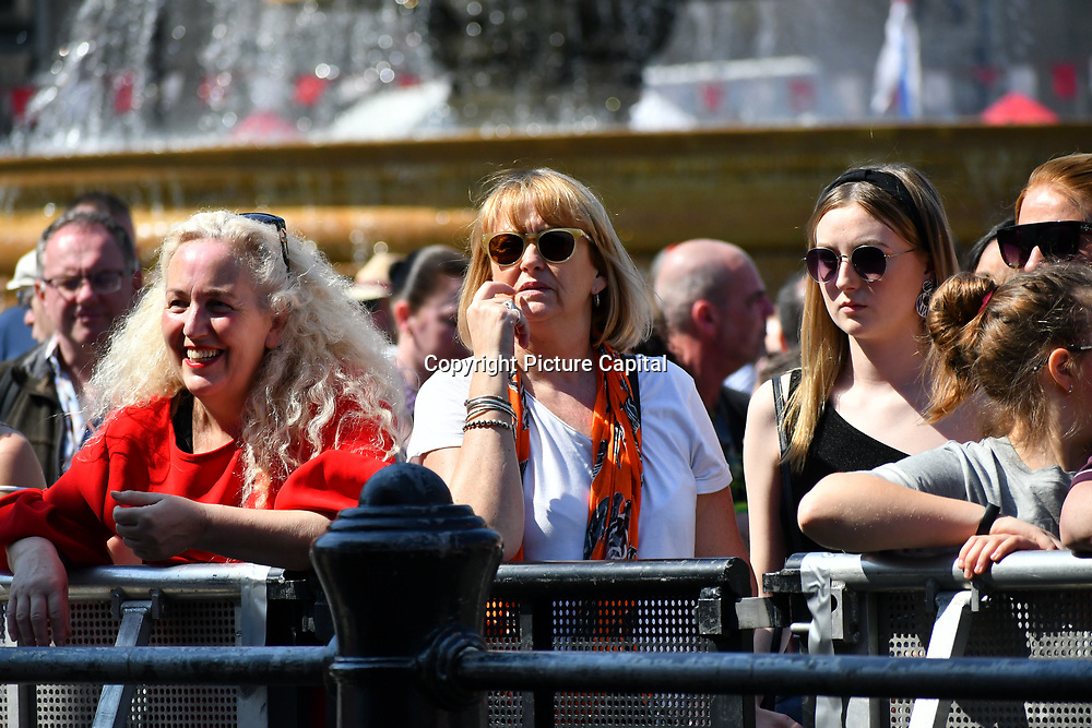 Hundreds attend the Feast of St George to celebrate English Culture with music and English food stalls in Trafalgar Square on 20 April 2019, London, UK.