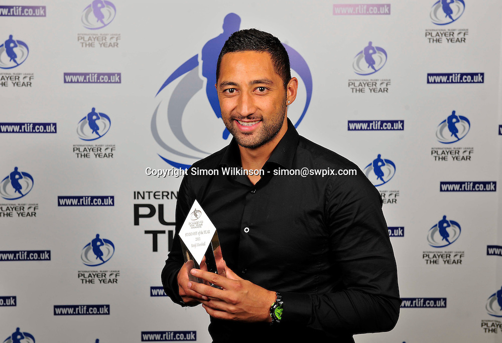 PICTURE BY SIMON WILKINSON/SWPIX.COM...Rugby League - Gillette 4 Nations 2011 - Rugby League International Federation International Player of the Year Awards 2011 - Tower of London, London, England - 02/11/11…New Zealand's Benji Marshall wins Stand Off of the Year.