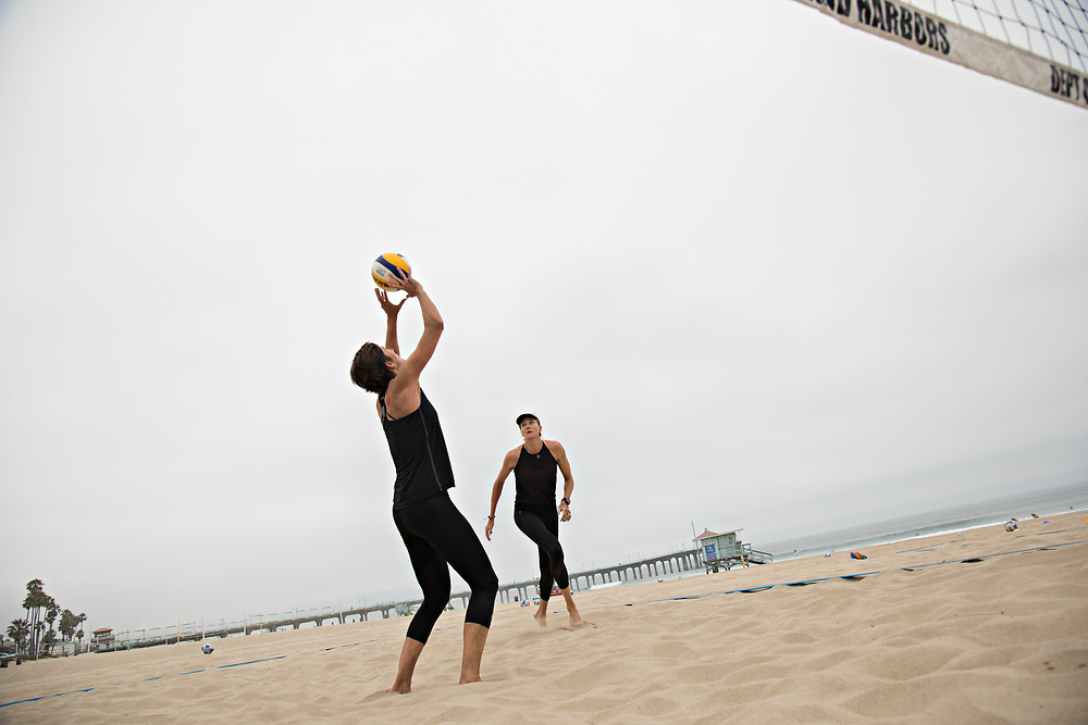 MANHATTAN BEACH, CA - June 5, 2017:  <br /> <br /> Kerri Walsh Jennings, right, gets in an early morning practice with her new partner Nicole Branagh on Manhattan Beach, learning how to communicate and read each other on the court. The two 38-year-old professional beach volleyball players are hoping to play together through the World Tour Finals in late August, and have talked about making a run at the 2020 summer Olympics. <br /> <br /> (photo by Melissa Lyttle for ESPN)