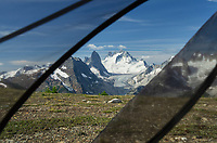 View through tent mesh of Howser Towers, Vowell Glacier. Bugaboo Provincial Park Purcell Mountains British Columbia.