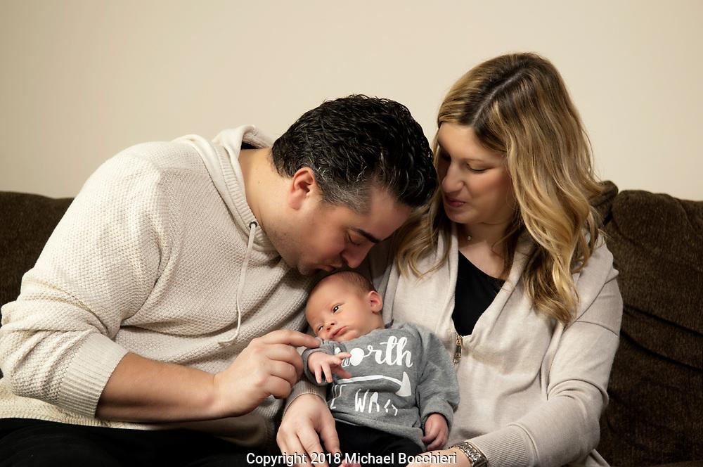CLIFFSIDE PARK, NJ - January 16:  New born baby Mason Klibanoff poses for a portrait on January 16, 2018 in CLIFFSIDE PARK, NJ.  (Photo by Michael Bocchieri/Bocchieri Archive)