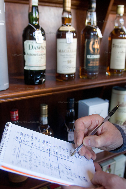 Picture shows : Hit list during viewing.Fine & Rare Whisky & Port Auction. Spring 2009. McTears Auctioneers, Glasgow. .Wednesday 25th February 2009..Re Ingvild Paulsen Feature..Picture Drew Farrell..Tel : 07721-735041.....