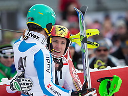 27.01.2013, Ganslernhang, Kitzbuehel, AUT, FIS Weltcup Ski Alpin, Slalom, Herren, 2. Lauf, im Bild Felix Neureuther (GER)  und Marcel Hirscher (AUT) // Felix Neureuther of Germany  and Marcel Hirscher of Austria after 2nd run of the mens Slalom of the FIS Ski Alpine World Cup at the Ganslernhang course, Kitzbuehel, Austria on 2013/01/27. EXPA Pictures © 2013, PhotoCredit: EXPA/ Johann Groder
