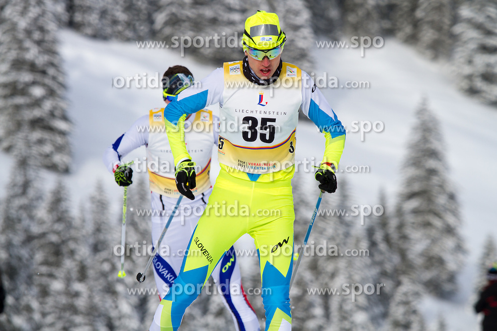 Erik Raduha competing in cross country at 12th European Youth Olympic Winter Festival in Vorarlberg and Liehtenstein on January 28, 2015. (Photo by Peter Kastelic / Sportida.com)