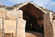Israel, Jordan Valley, The remains of the 12th century Crusader fortress of Belvoir. The dining hall