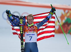 19-02-2014 SKIEN: OLYMPIC GAMES: SOTSJI<br /> Olympic Champion Ted Ligety of the USA reacts in the finish area during the 2nd run of mens Giant Slalom to the Olympic Winter Games Sochi 2014<br /> ***NETHERLANDS ONLY***<br /> ©2014-FotoHoogendoorn.nl