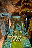 Beautiful hindu altar inside the cave temple complex at Goa Giri Putri on Nusa Penida, Bali, Indonesia