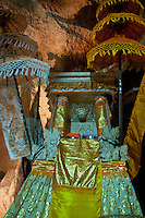Beautiful hindu altar inside the cave temple complex at Goa Giri Putri on Nusa Penida, Bali, Indonesia