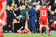 England women's manager Phil Neville helps Kayleigh Green (9) of Wales with her cramp during the FIFA Women's World Cup UEFA Qualifier match between England Ladies and Wales Women at the St Mary's Stadium, Southampton, England on 6 April 2018. Picture by Graham Hunt.