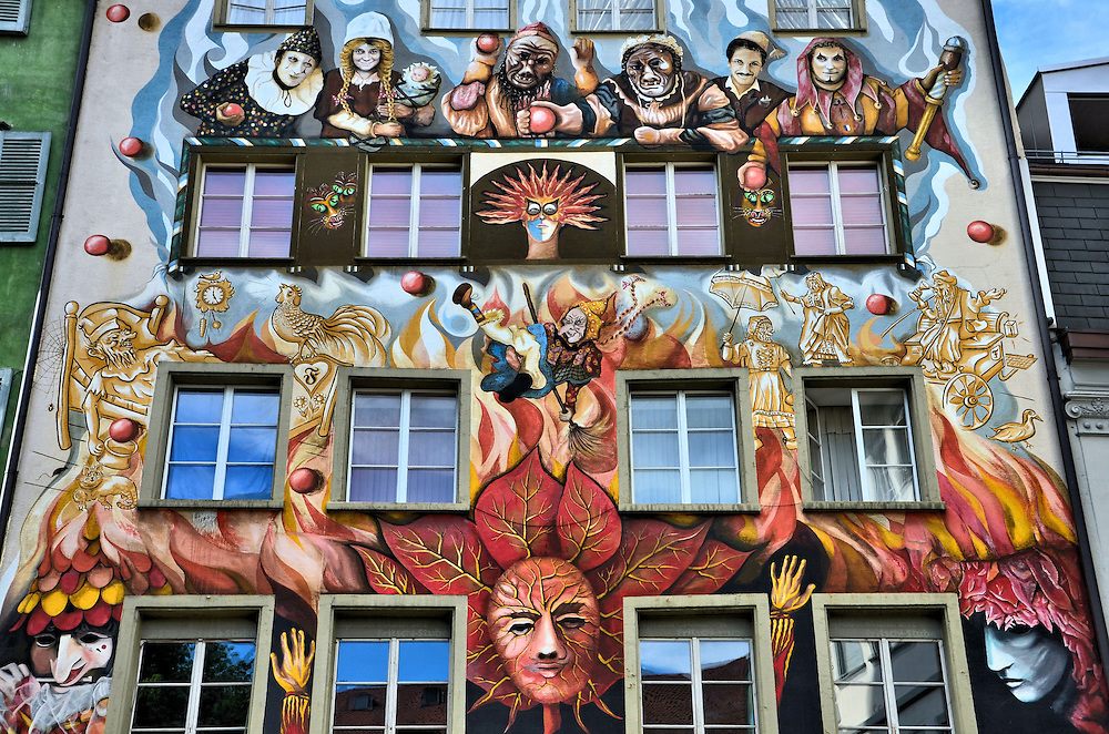 Carnival Mural by Robert Ottiger in Lucerne, Switzerland<br />