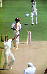 Chris Lewis (England) gets an LBW decision on Richie Richardson during the Fourth Cornhill Test match at Edgbaston.