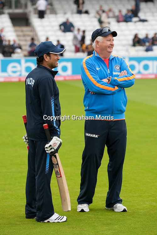 Indian Coach Duncan Fletcher (right) with Sachin Tendulkar during the first npower Test Match between England and India at Lord's Cricket Ground, London.  Photo: Graham Morris (Tel: +44(0)20 8969 4192 Email: sales@cricketpix.com) 21/07/11