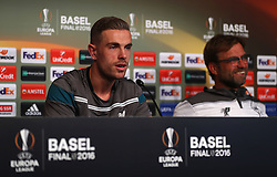 BASEL, SWITZERLAND - Tuesday, May 17, 2016: Liverpool's captain Jordan Henderson and manager Jürgen Klopp during a press conference ahead of the UEFA Europa League Final against Sevilla FC at St. Jakob-Park. (Pic by UEFA/Pool/Propaganda)