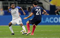July 22, 2017 - Arlington, TX, USA - Arlington, TX - Saturday July 22, 2017: Kellyn Acosta and Marco Ureña during a 2017 Gold Cup Semifinal match between the men's national teams of the United States (USA) and Costa Rica (CRC) at AT&T stadium. (Credit Image: © John Dorton/ISIPhotos via ZUMA Wire)